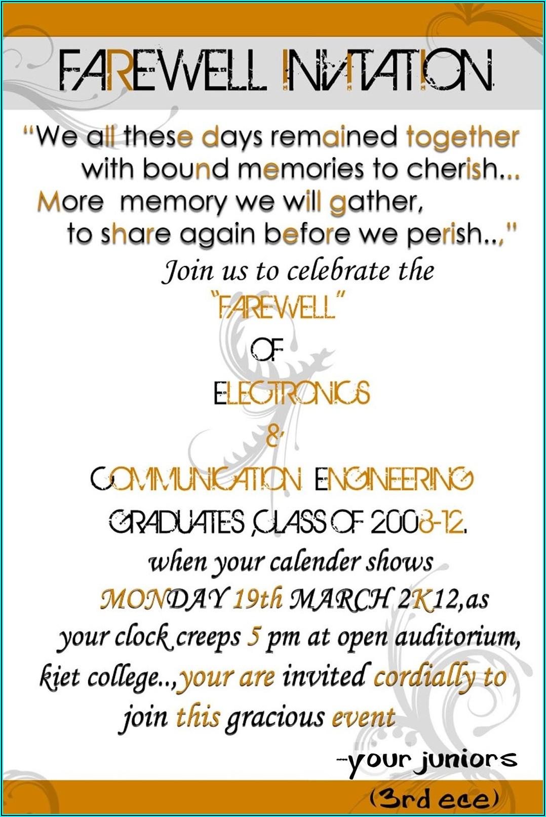 Employee Farewell Invitation Wording
