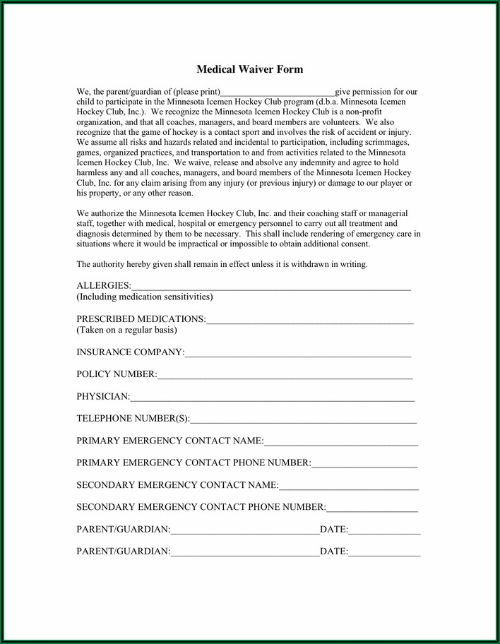 Employee Medical Insurance Waiver Form