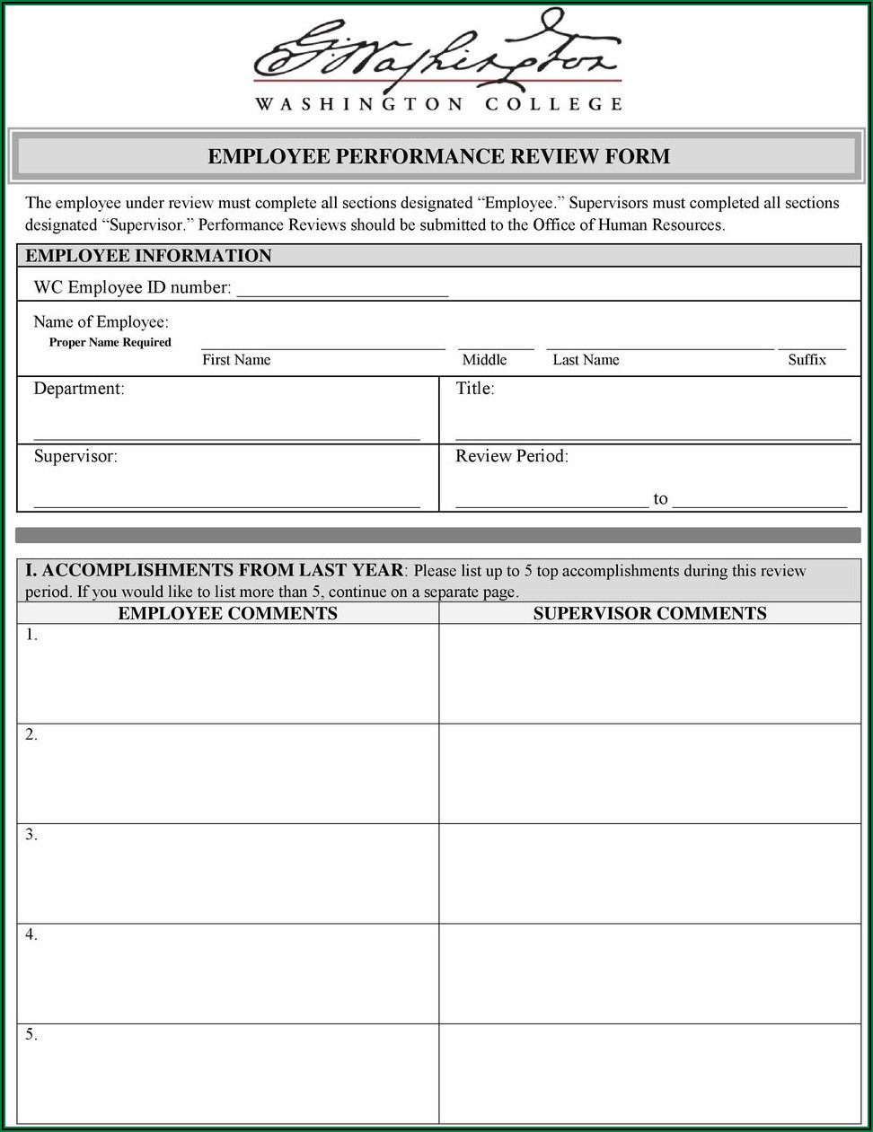 Employee Performance Review Form Pdf