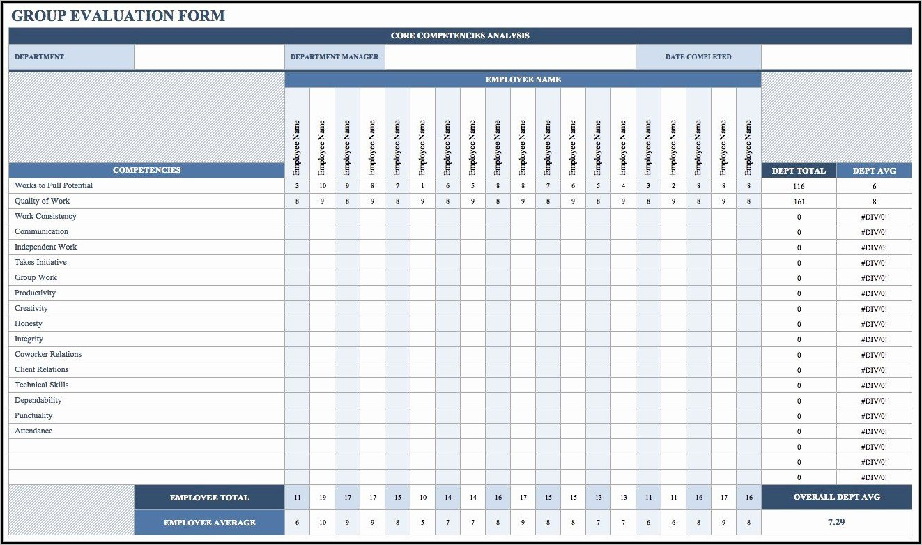 Employee Performance Review Template Excel Free