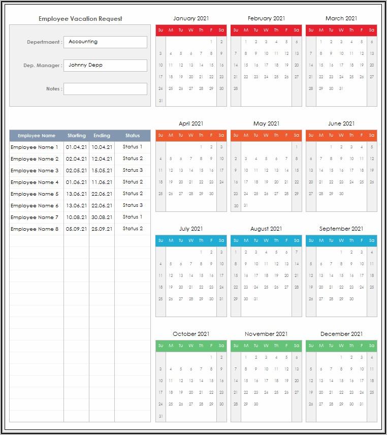 Employee Vacation Calendar Template 2021