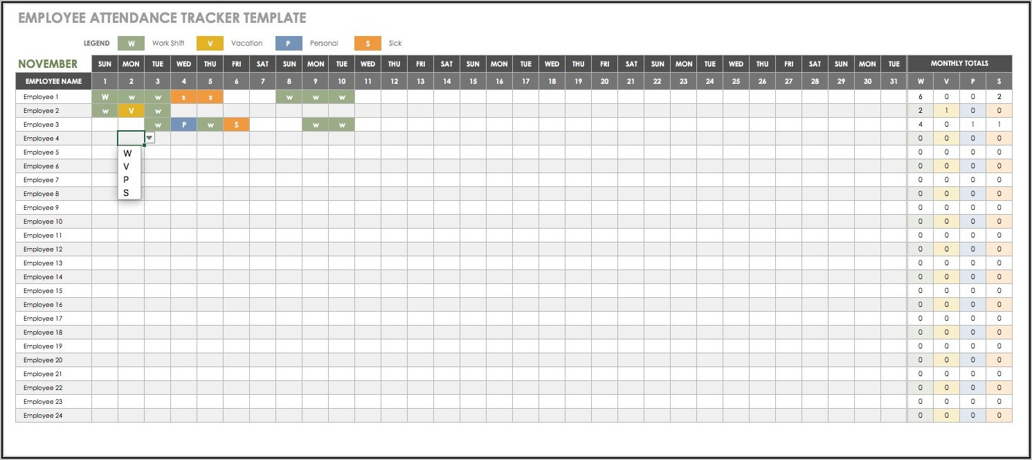 Employee Vacation Tracker Template Free