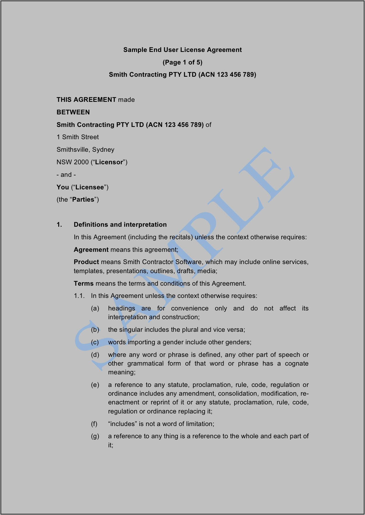 End User License Agreement Template Free