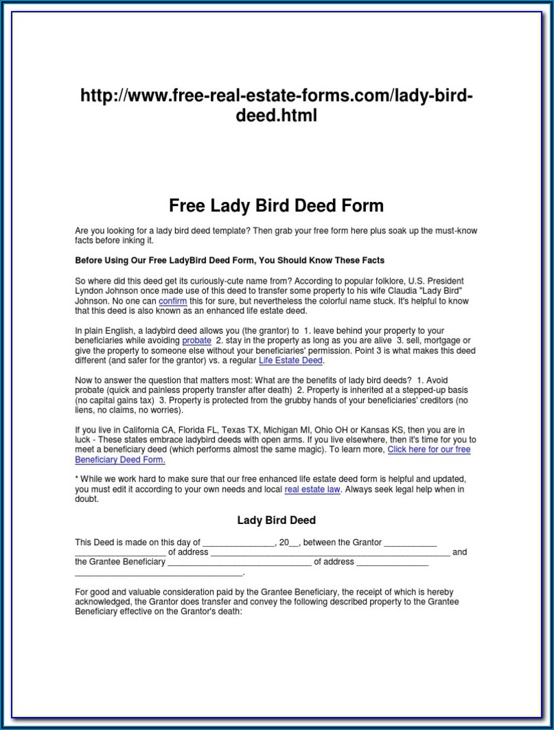 Enhanced Life Estate Deed Florida Form Free
