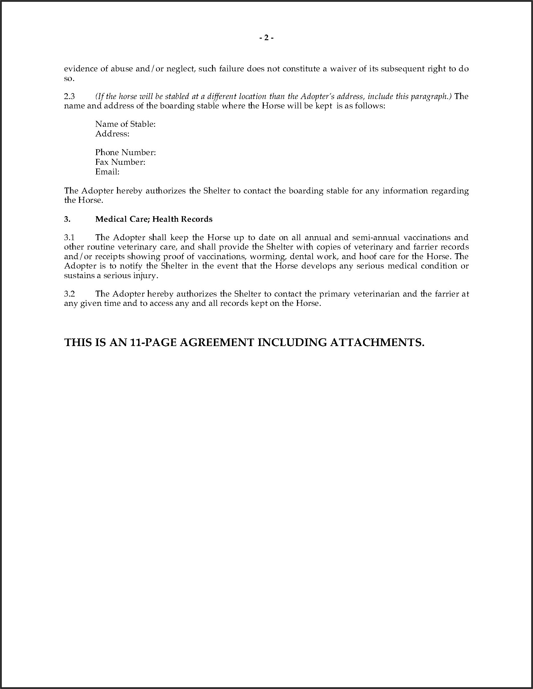 Equine Legal Forms