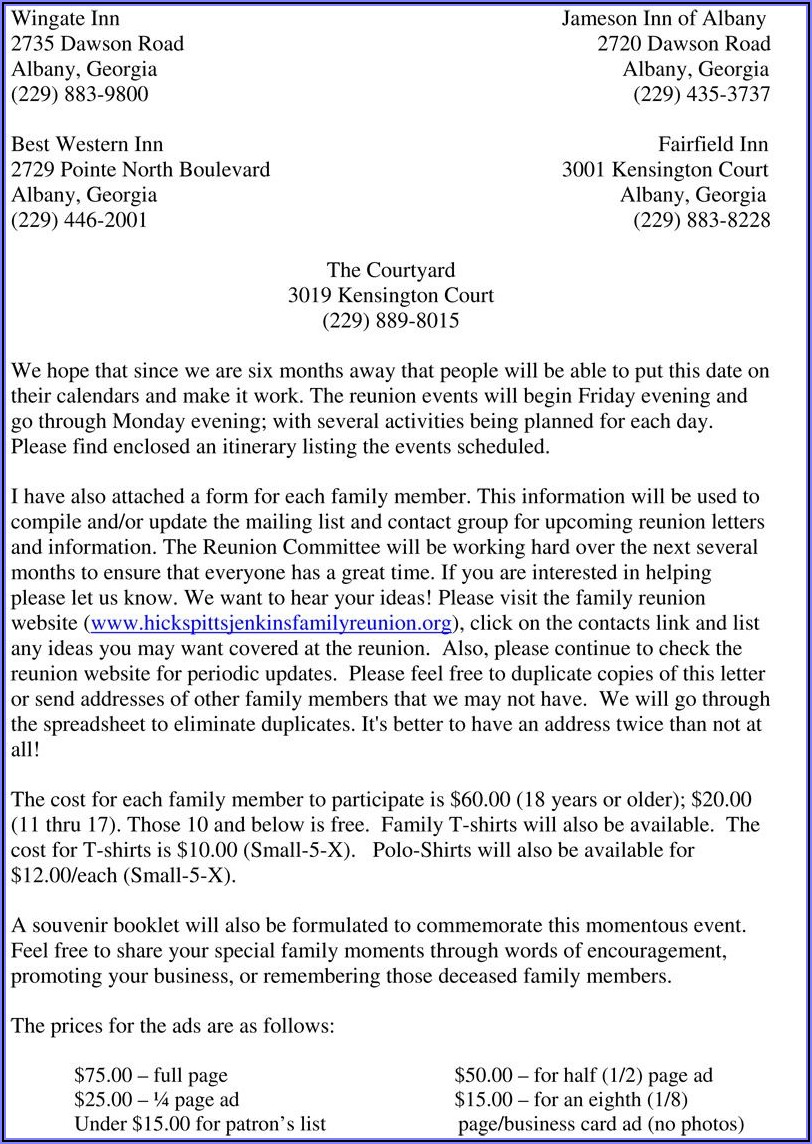 Examples Of Family Reunion Invitation Letter