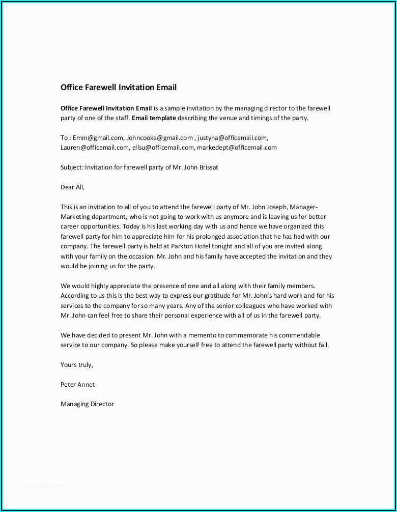 Farewell Colleague Invitation Wording