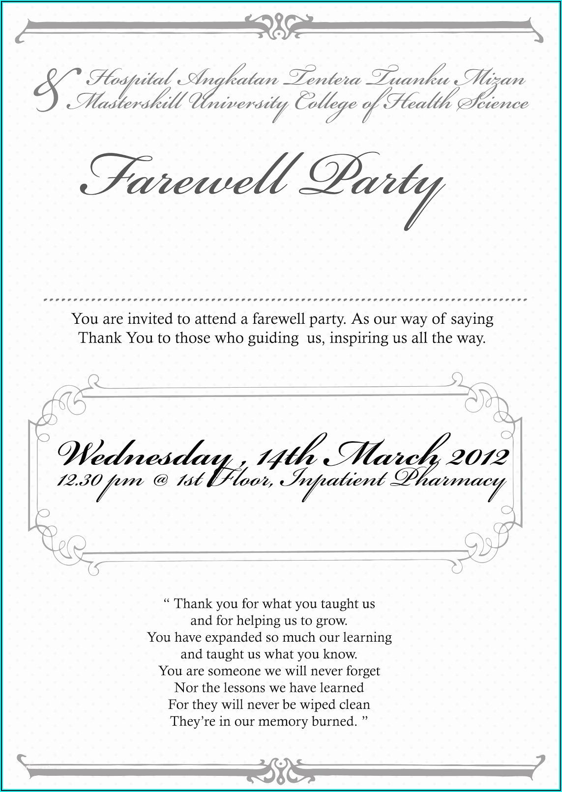 Farewell Coworker Invitation Wording