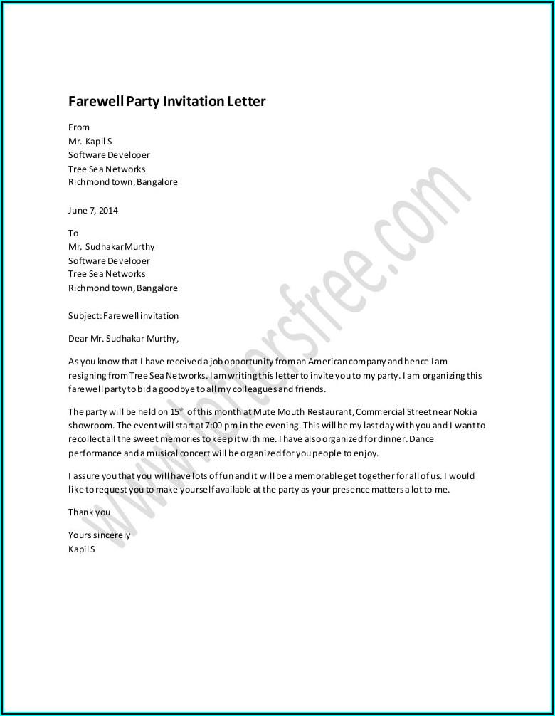 Farewell Dinner Invitation Email Sample