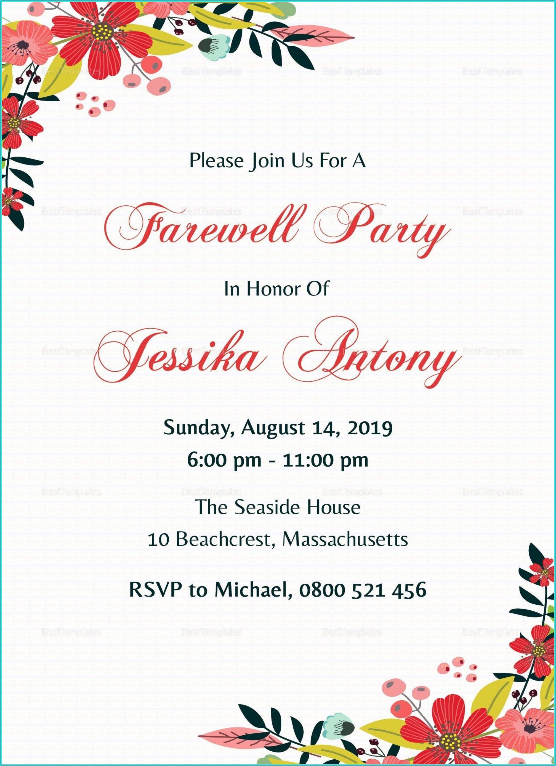 Farewell Invitation Card Design