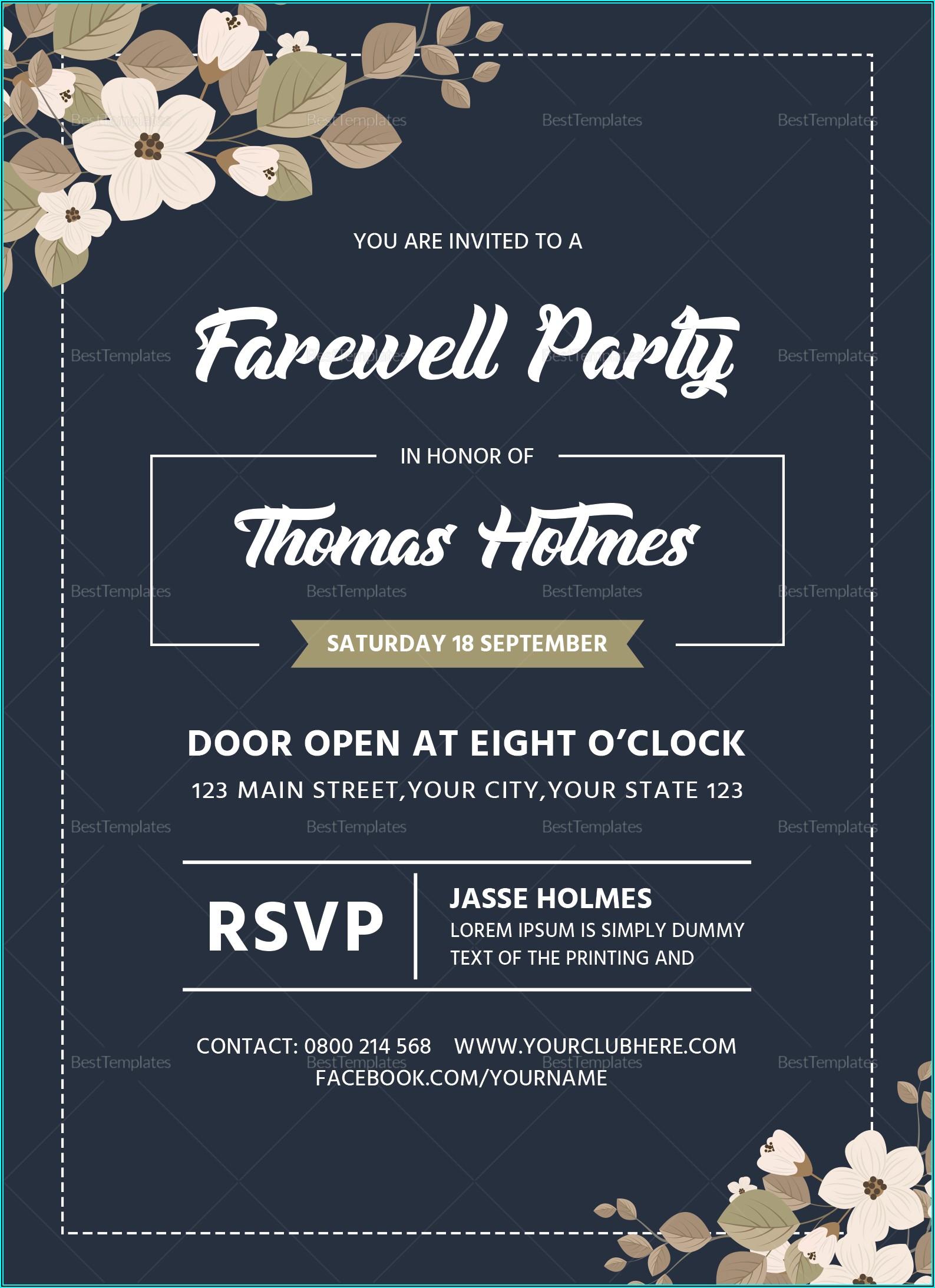 Farewell Invitation Card Template Word