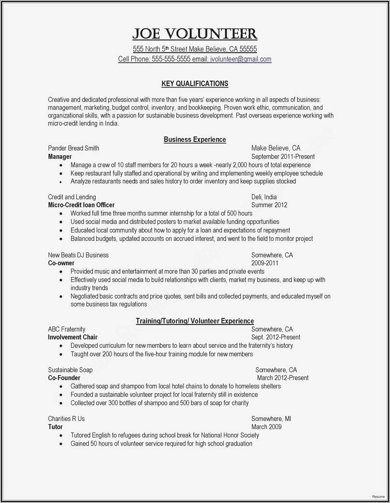Fillable Sample Resume
