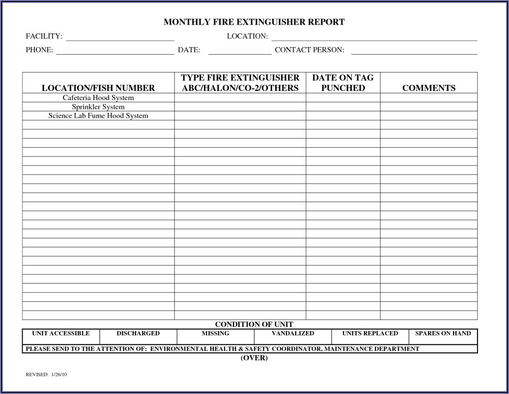 Fire Extinguisher Inspection Forms