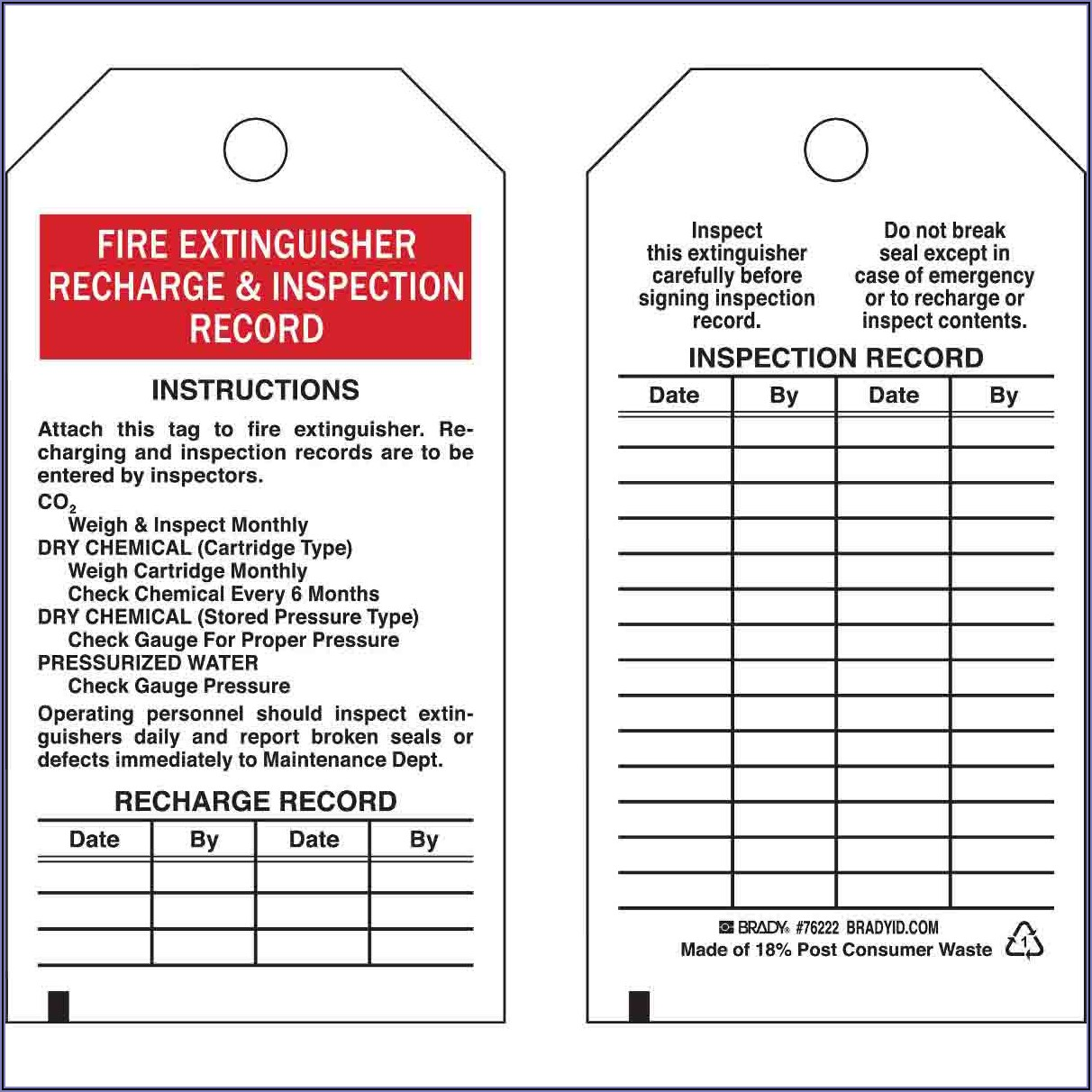 Fire Extinguisher Inspection Sheet