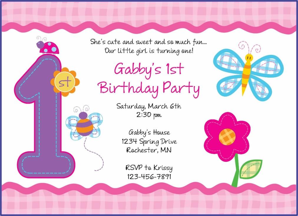 First Birthday Invitation Cards Templates Free