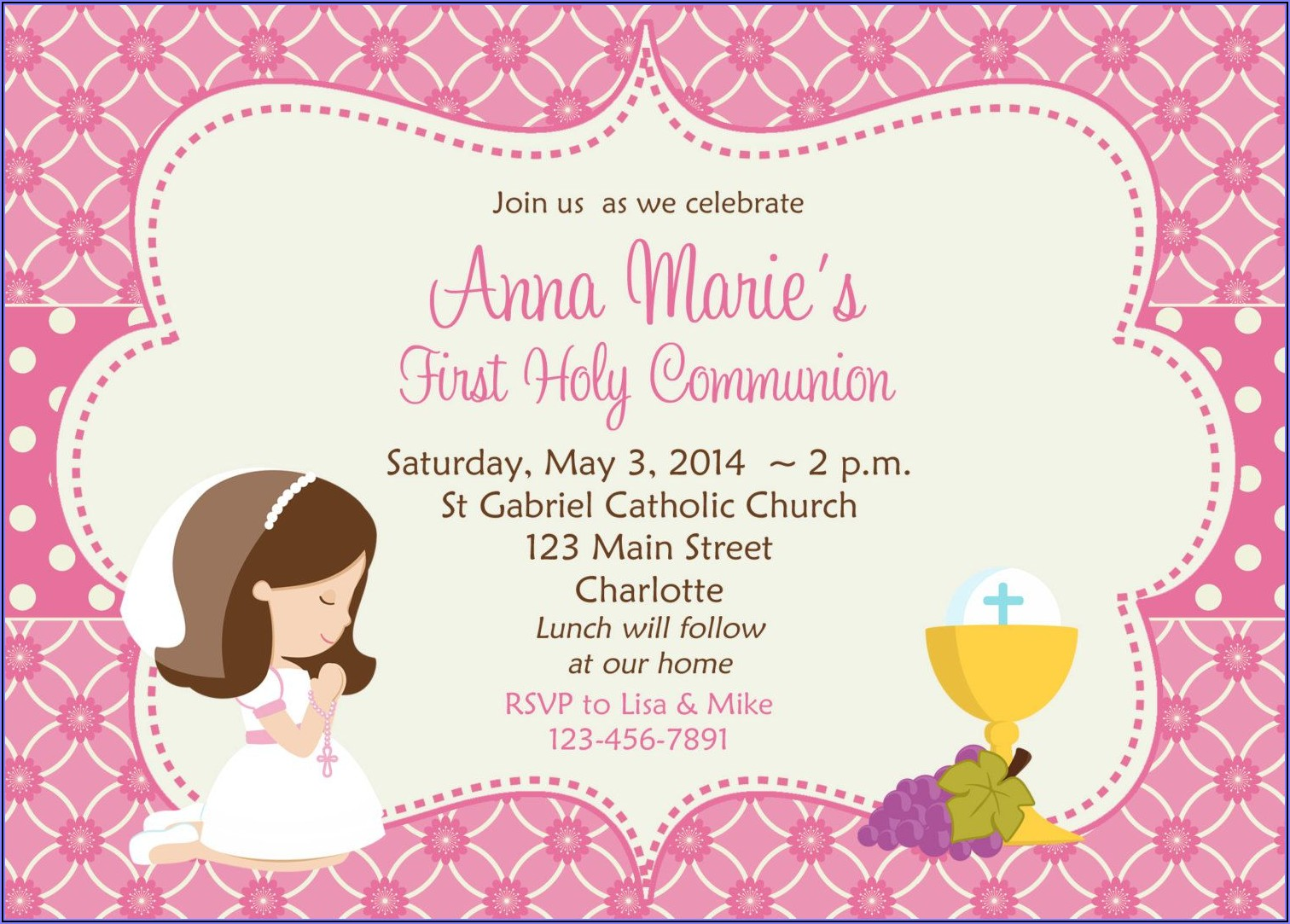 First Holy Communion Invitation Cards
