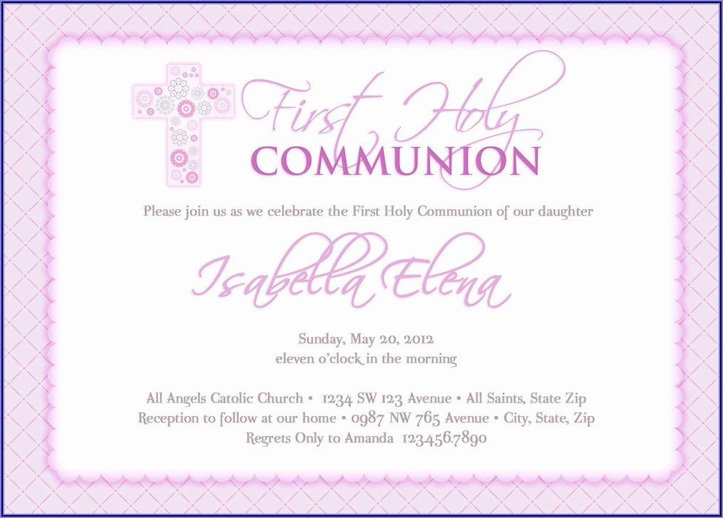 First Holy Communion Invitation Wordings