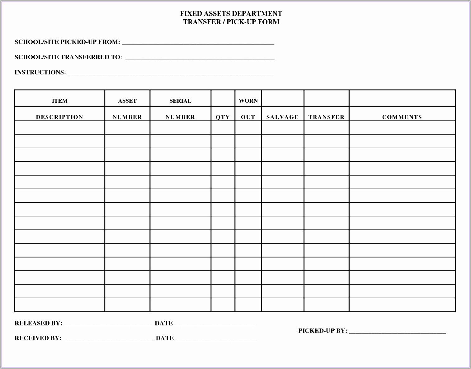 Fixed Asset List Template