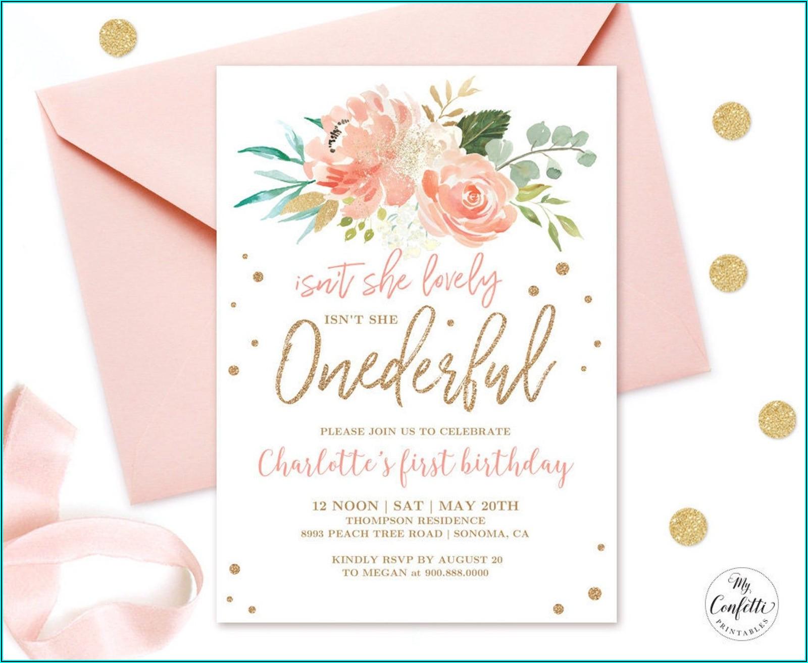 Floral 1st Birthday Invitation Template