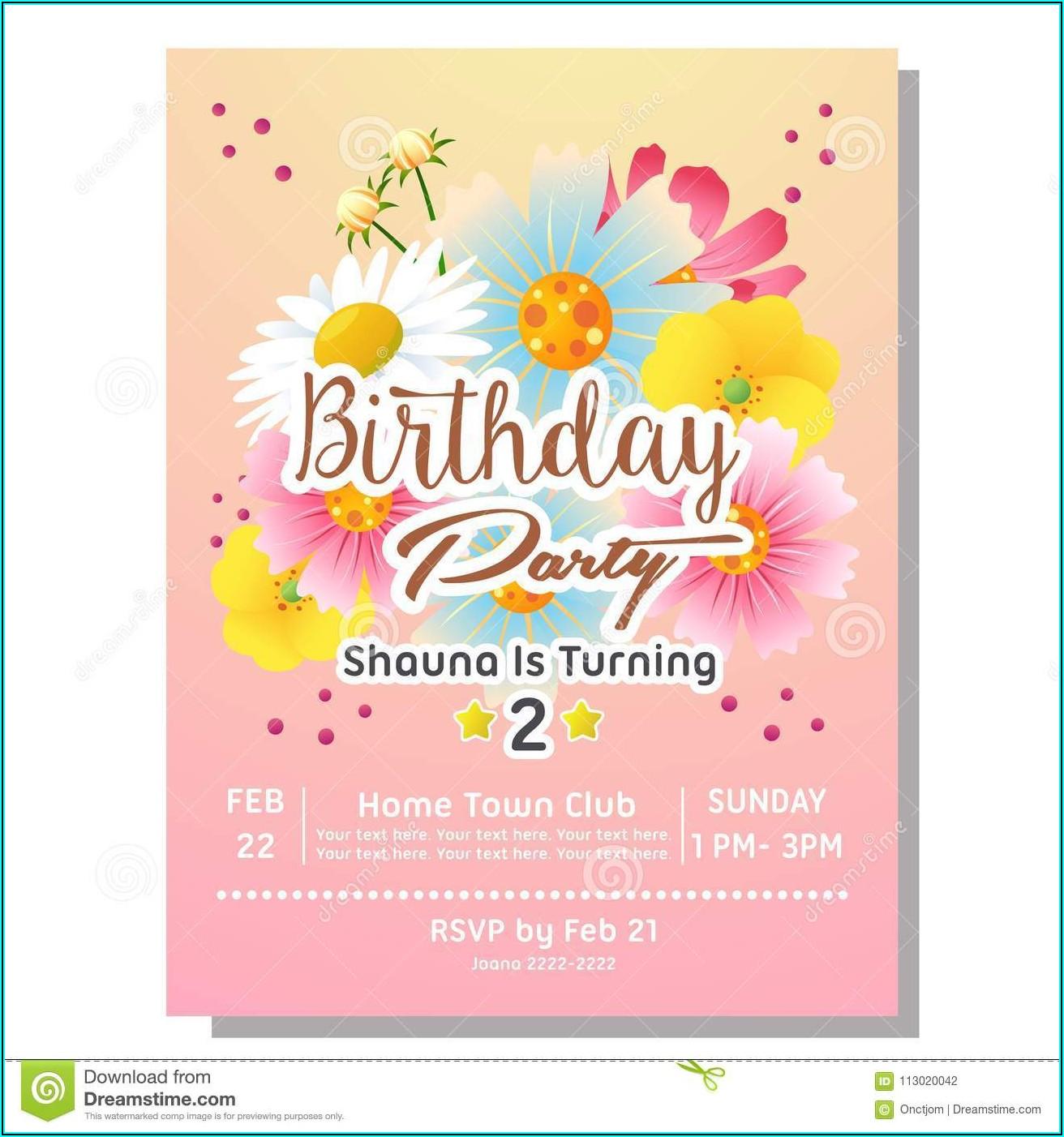 Flower Birthday Party Invitation Template