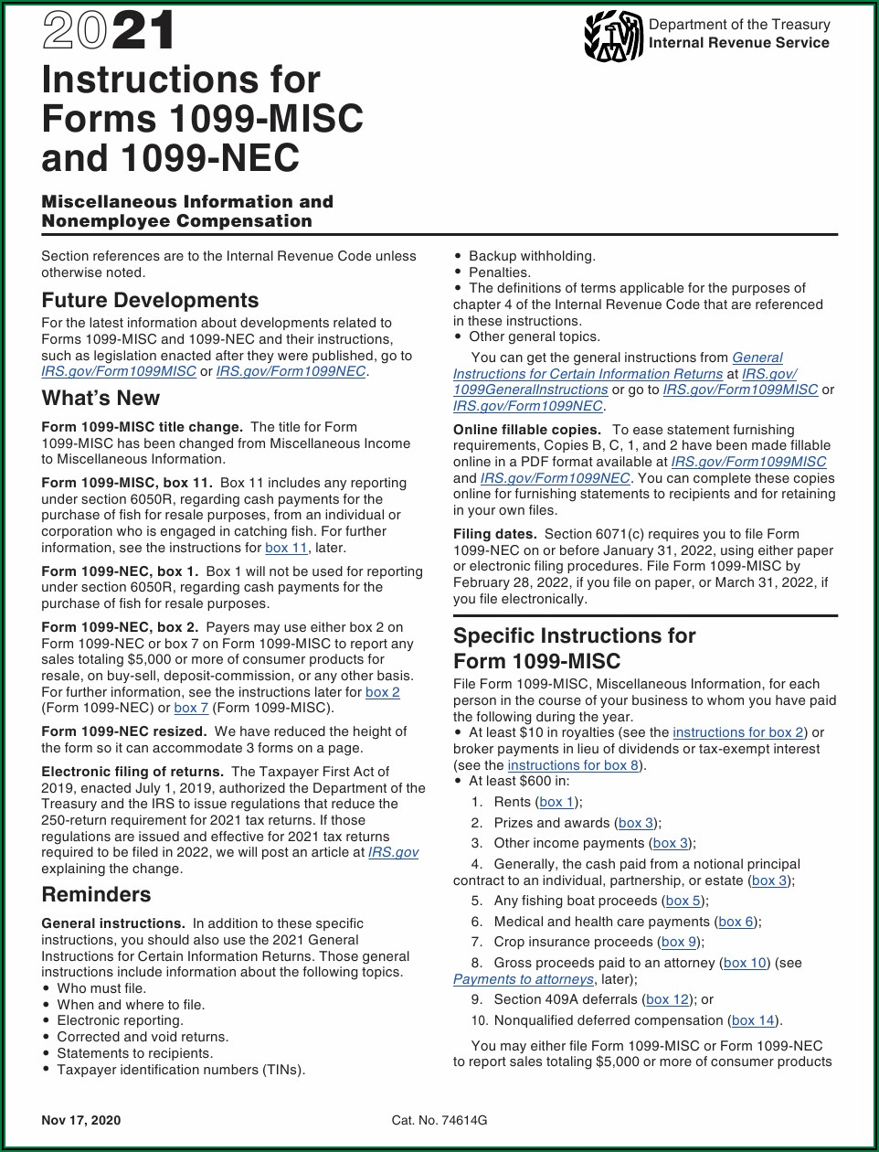 Form 1099 Misc Instructions Pdf