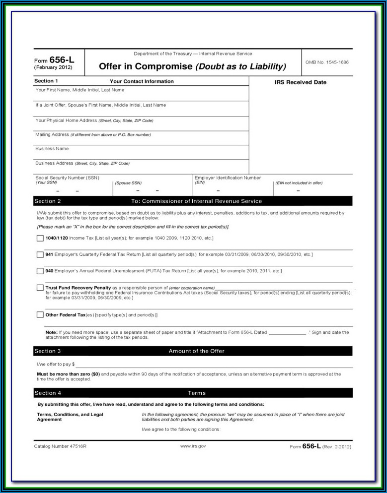 Form 656 L Offer In Compromise (doubt As To Liability)