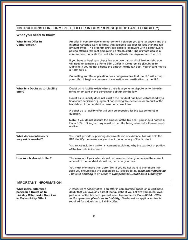 Form 656 L Offer In Compromise