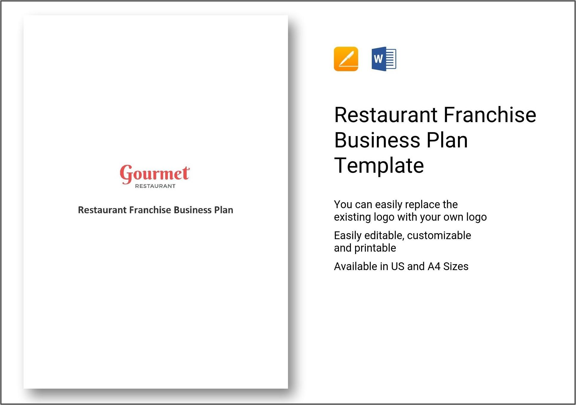 Franchise Restaurant Business Plan Template