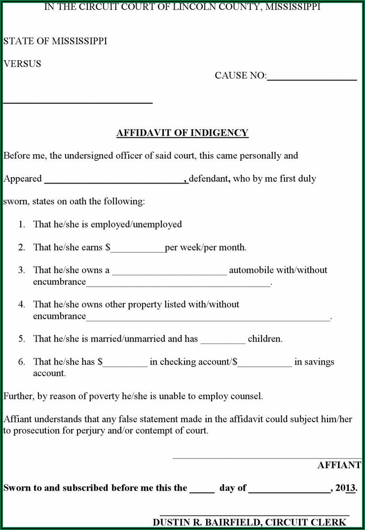 Free Affidavit Form Pdf