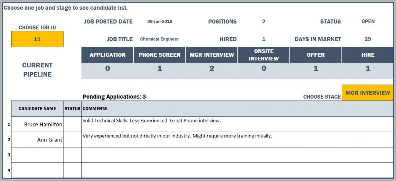 Free Applicant Tracking Excel Template