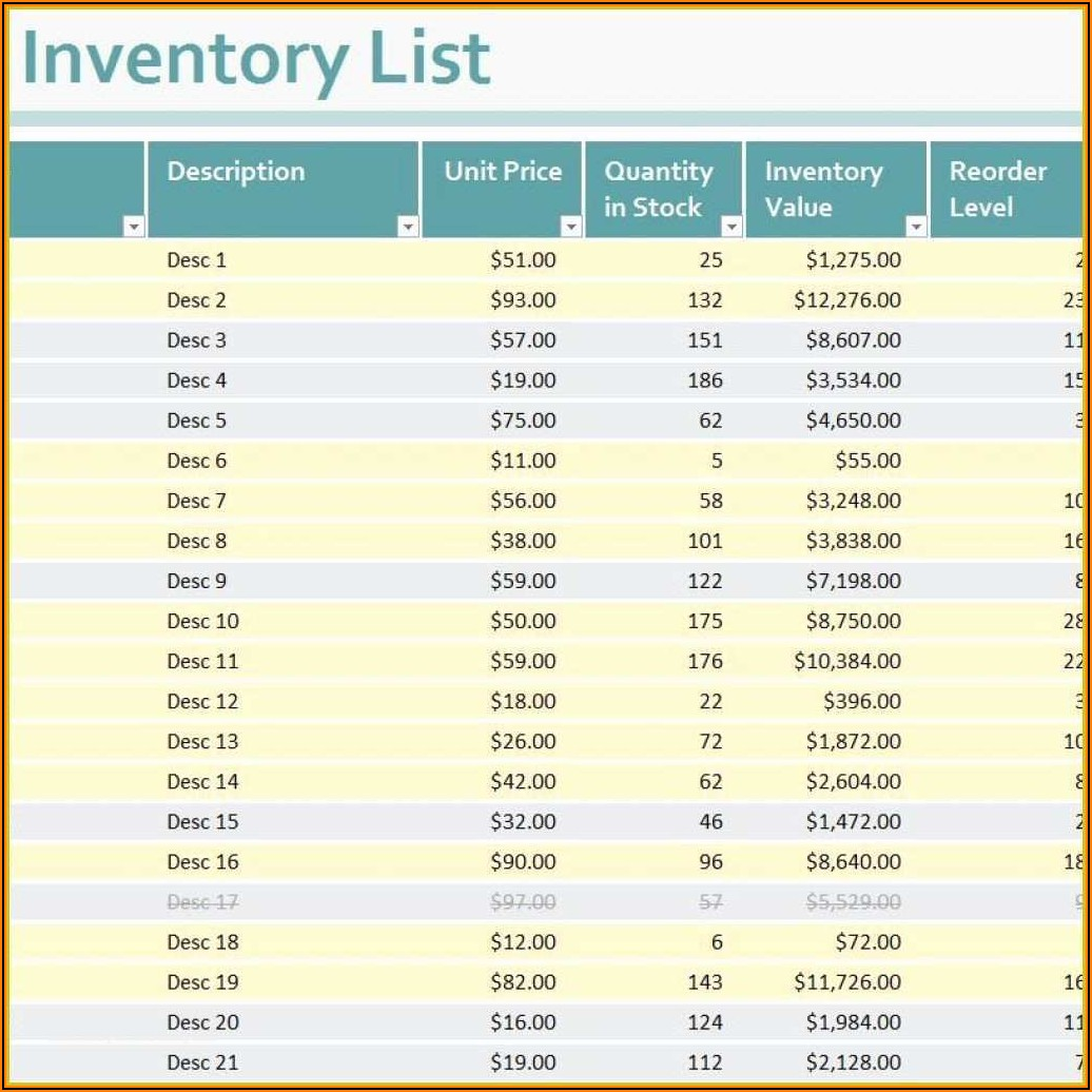 Free Bar Inventory Spreadsheet Template