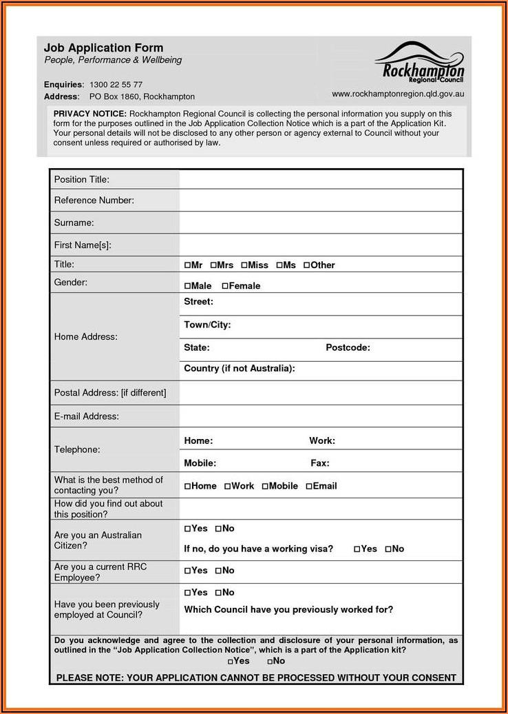 Free Blank Job Application Form Word Document