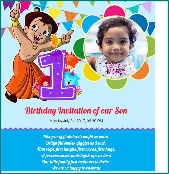 Free Chota Bheem Birthday Invitation Cards For Whatsapp