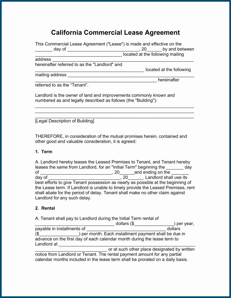 Free Commercial Lease Agreement California