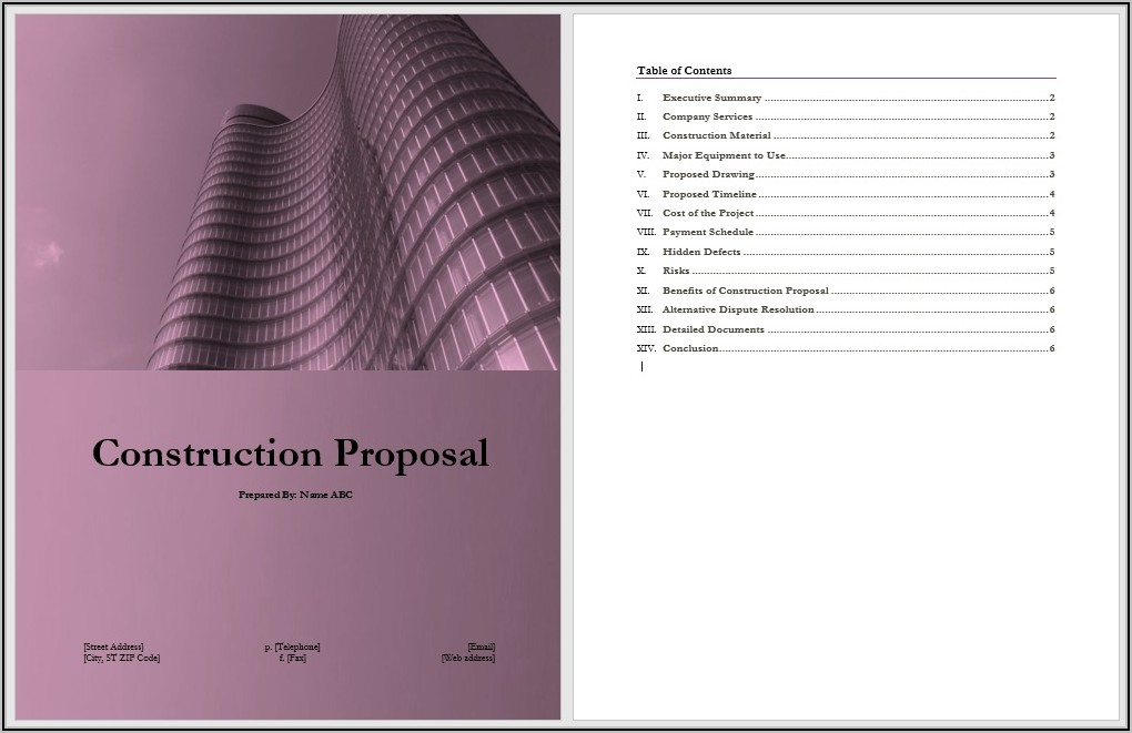 Free Construction Proposal Templates