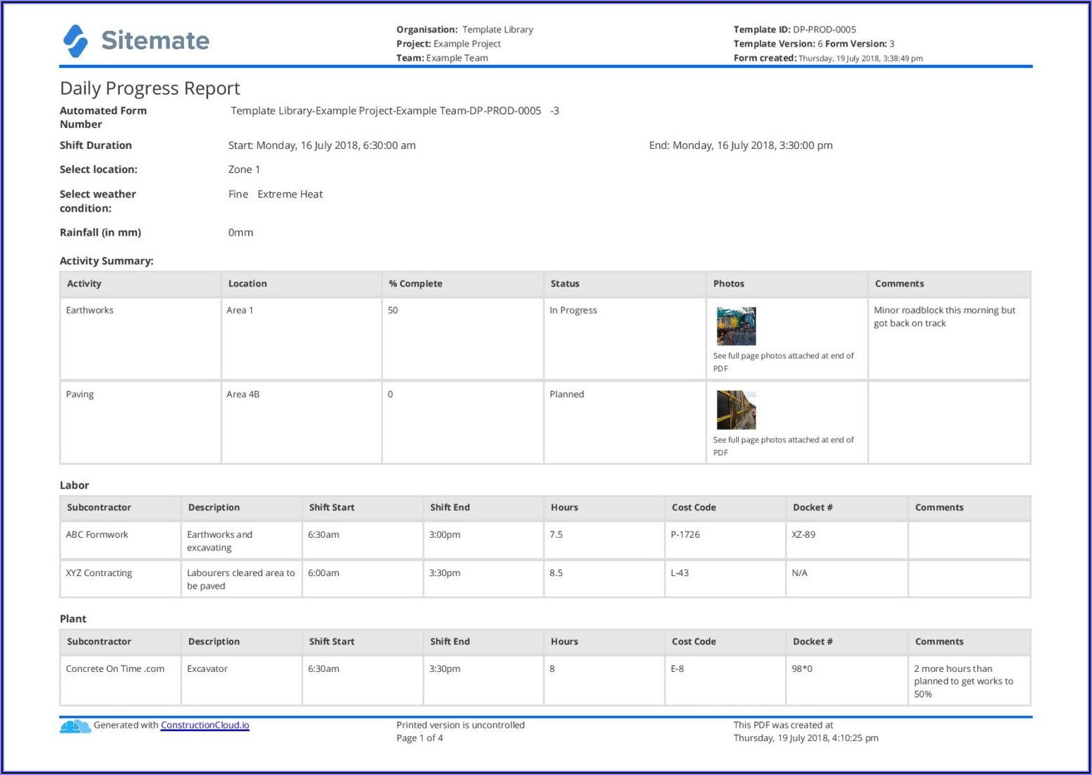 Free Construction Site Daily Report Template