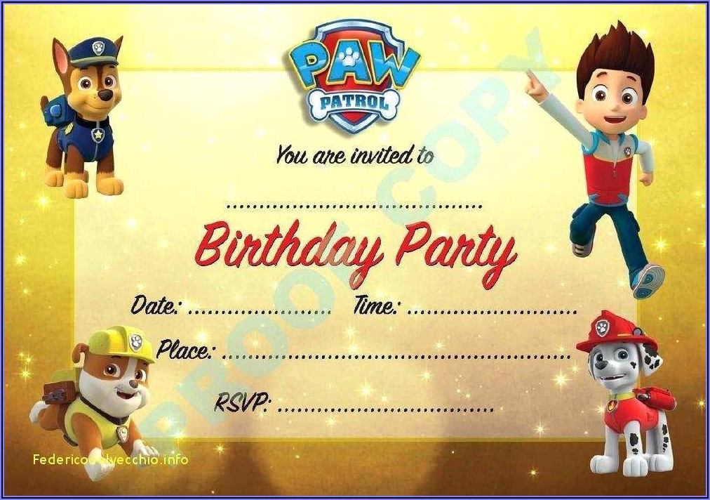 Free Customizable Paw Patrol Invitations Online
