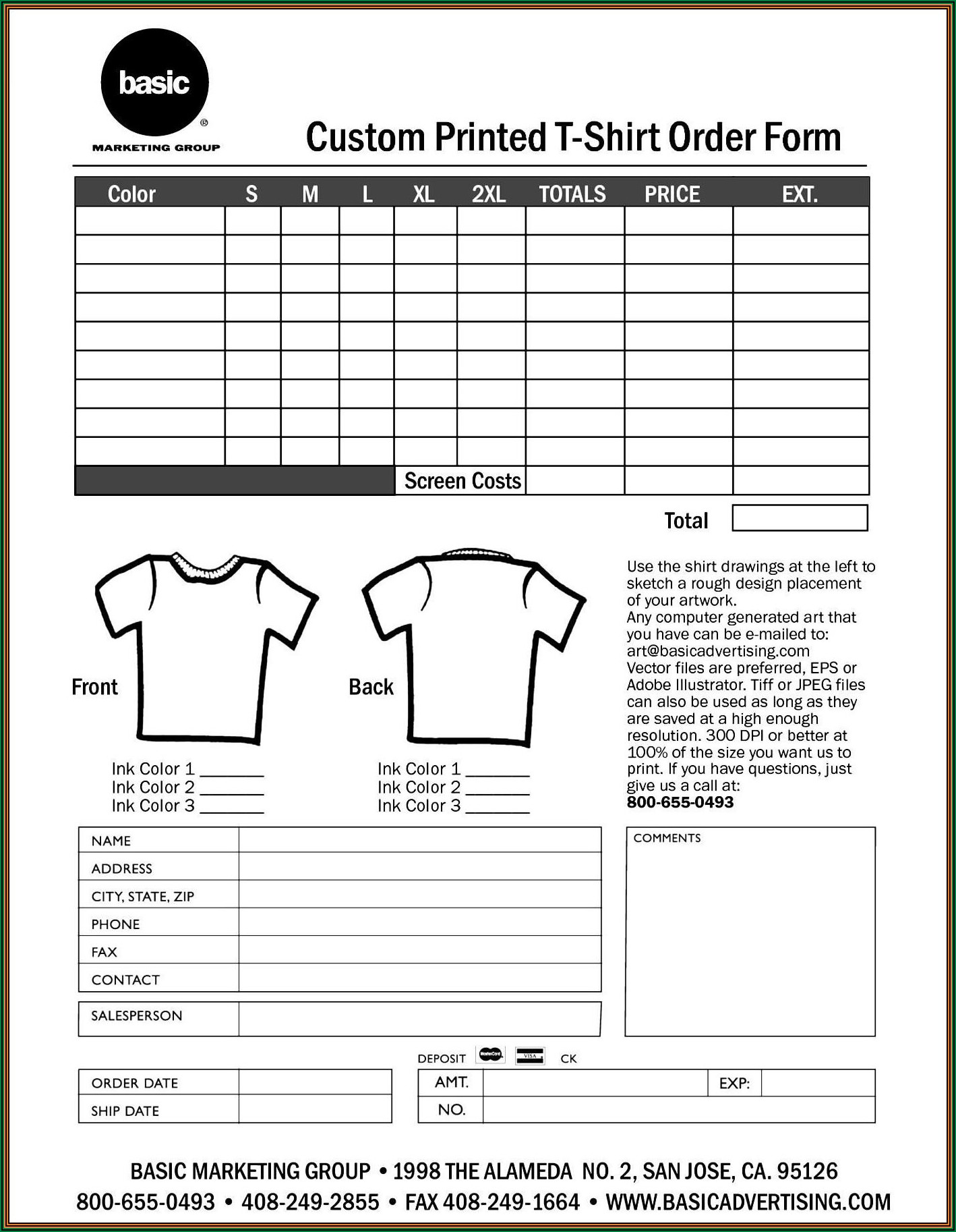 Free Customizable T Shirt Order Form