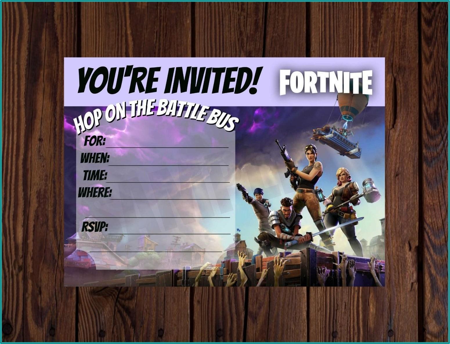 Free Downloadable Fortnite Birthday Invitations