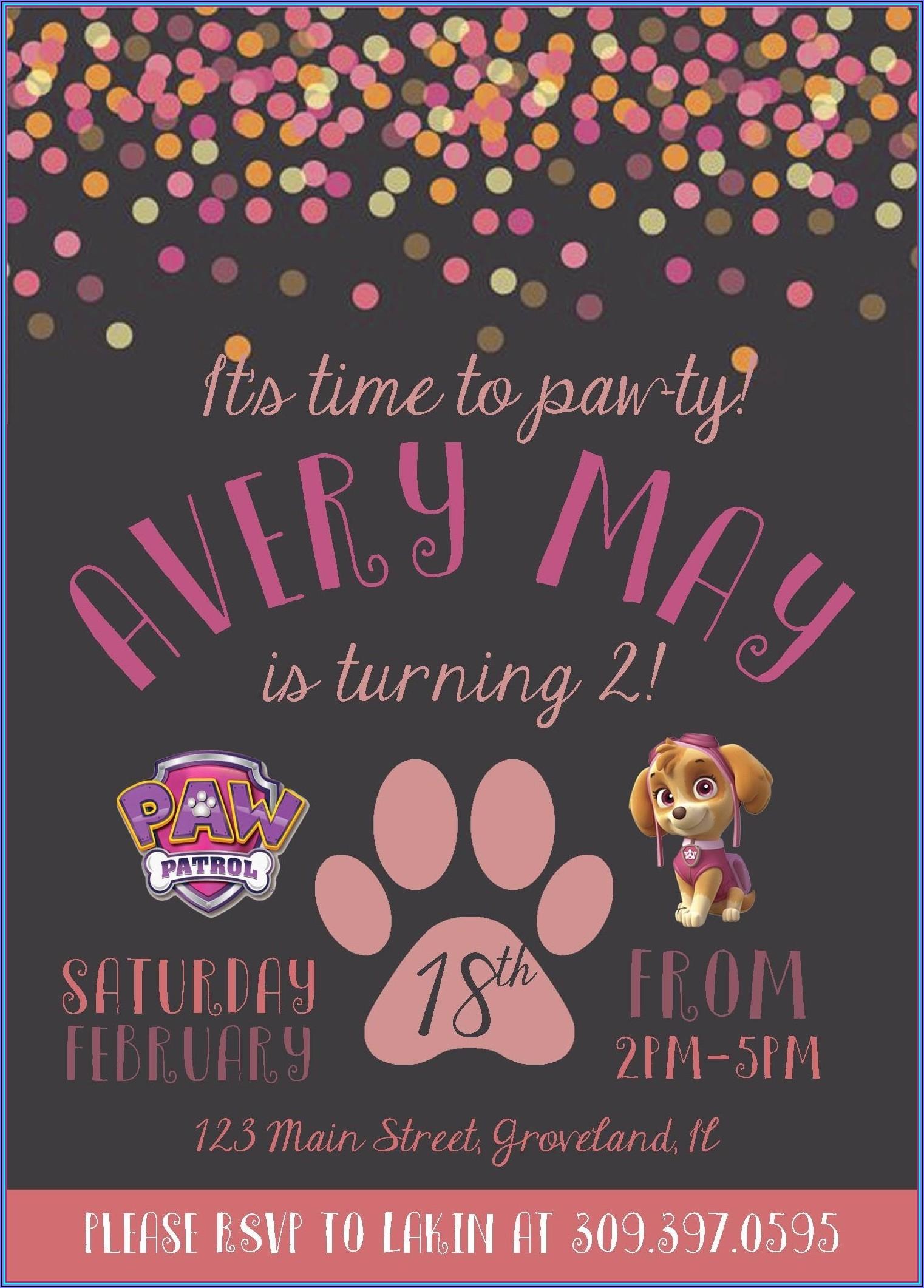 Free Downloadable Paw Patrol Birthday Invitations