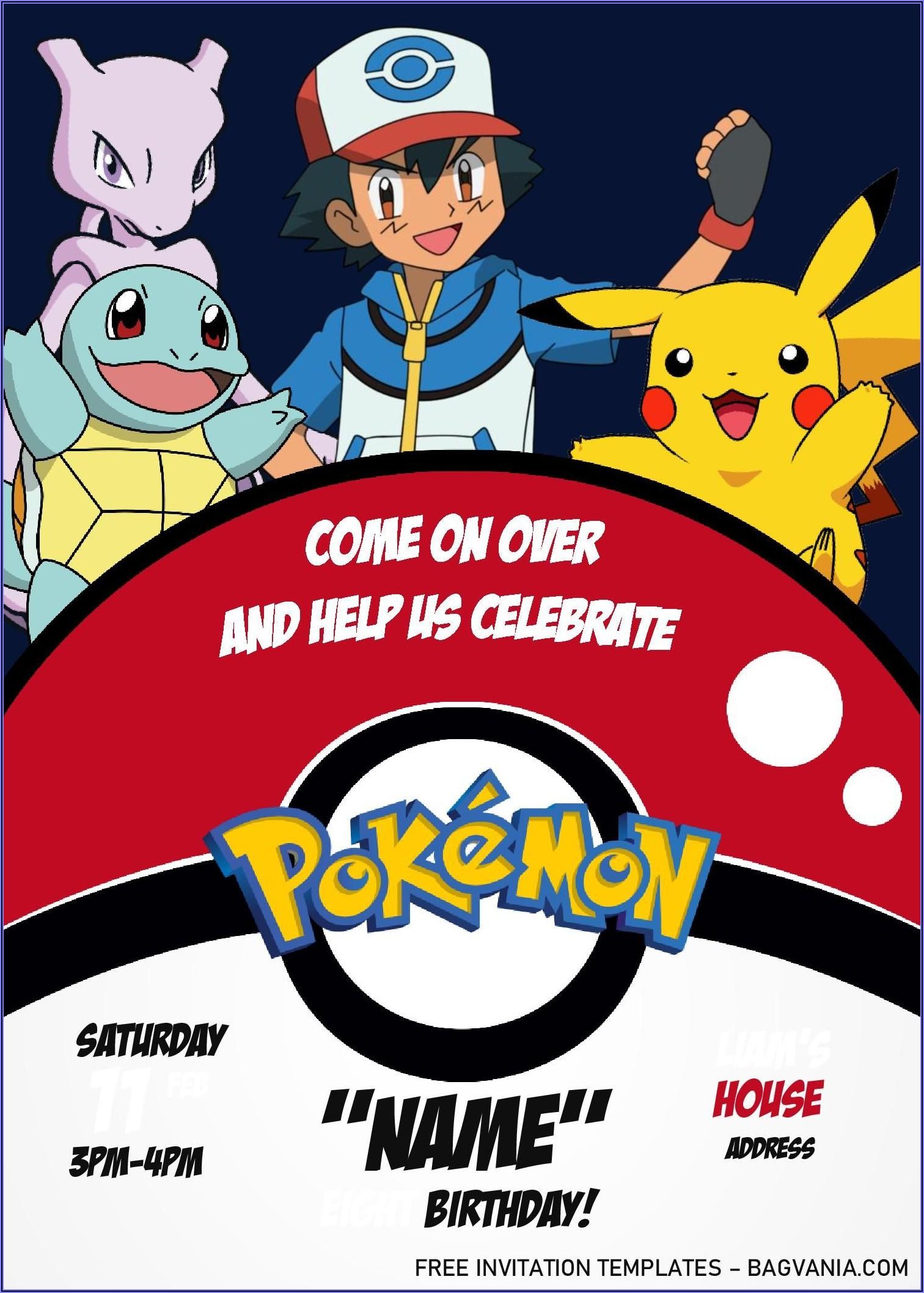 Free Editable Pokemon Birthday Invitations