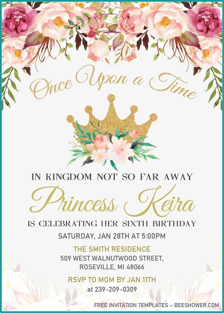 Free Editable Princess Birthday Invitations