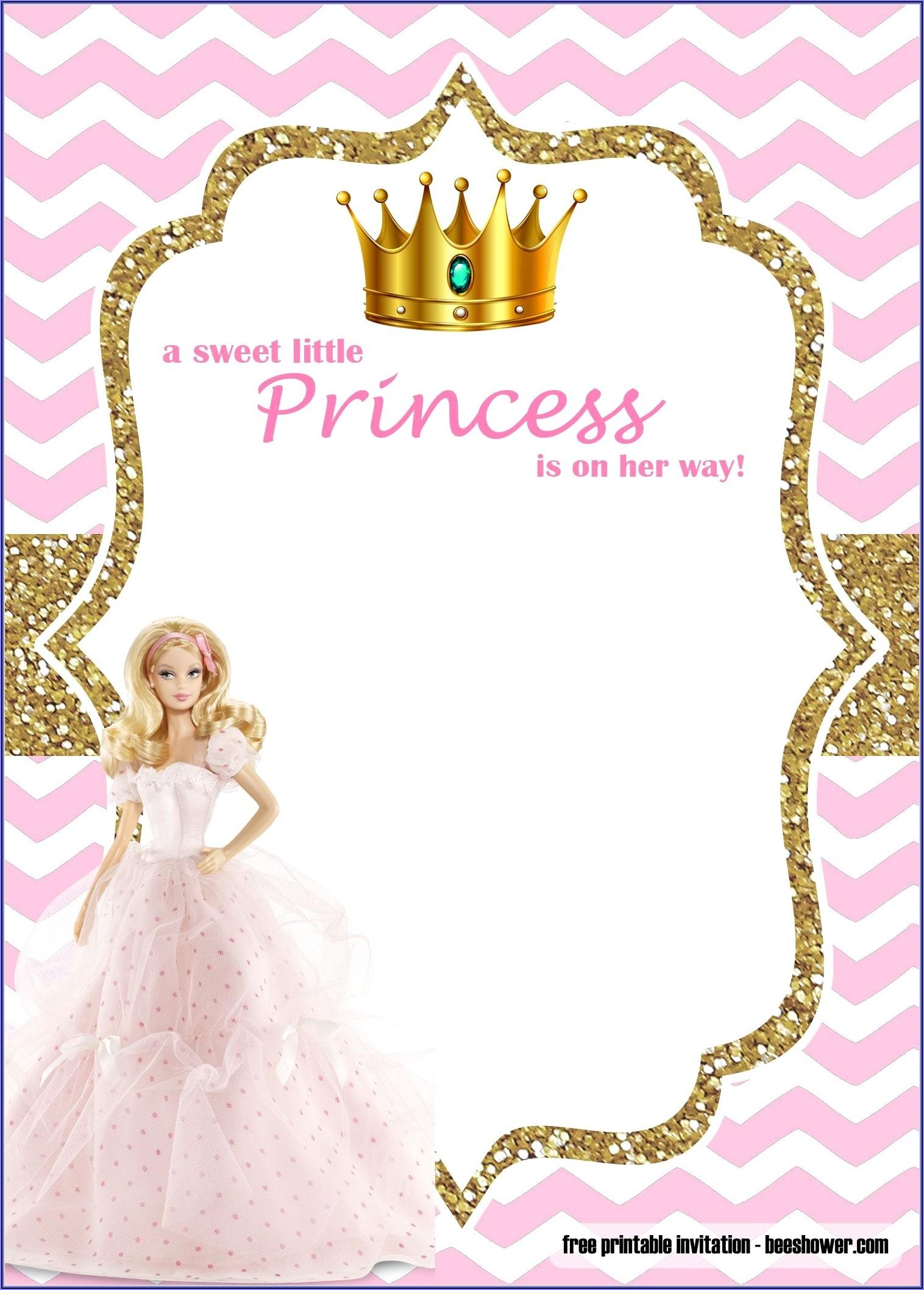 Free Editable Princess Invitations