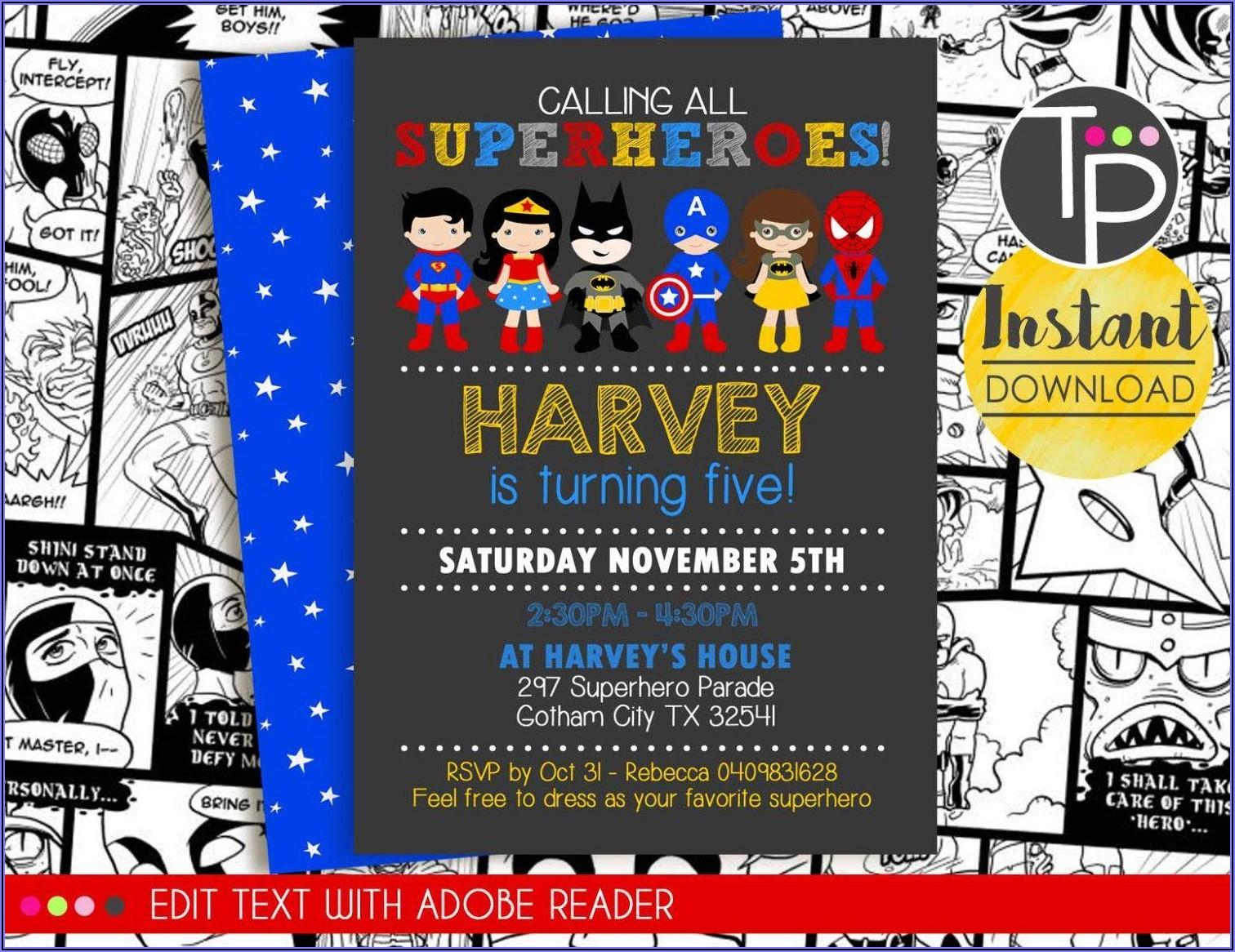 Free Editable Superhero Invitations