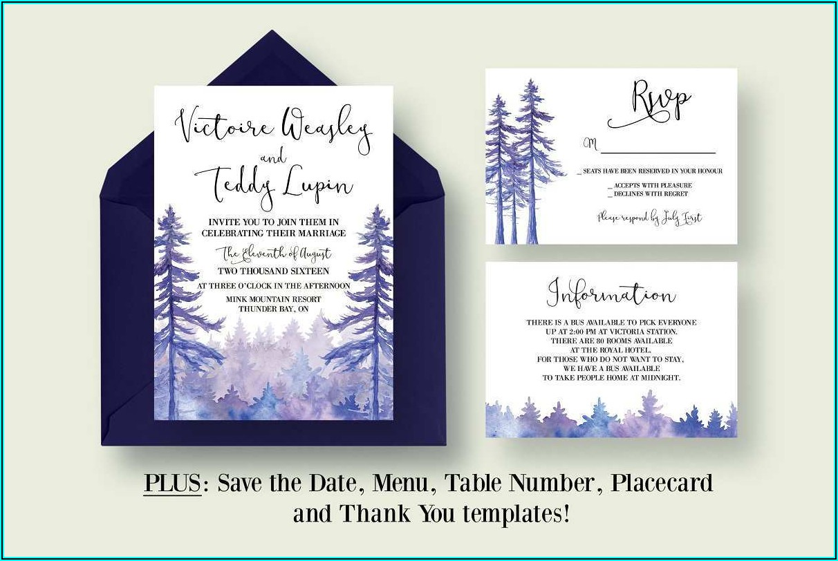 Free Enchanted Forest Wedding Invitation Template