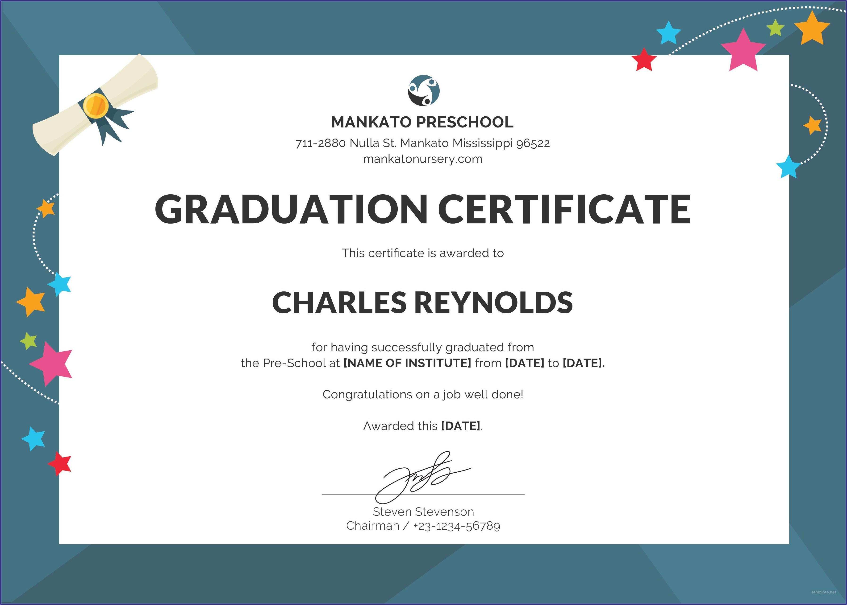 Free Graduation Certificate Template Word
