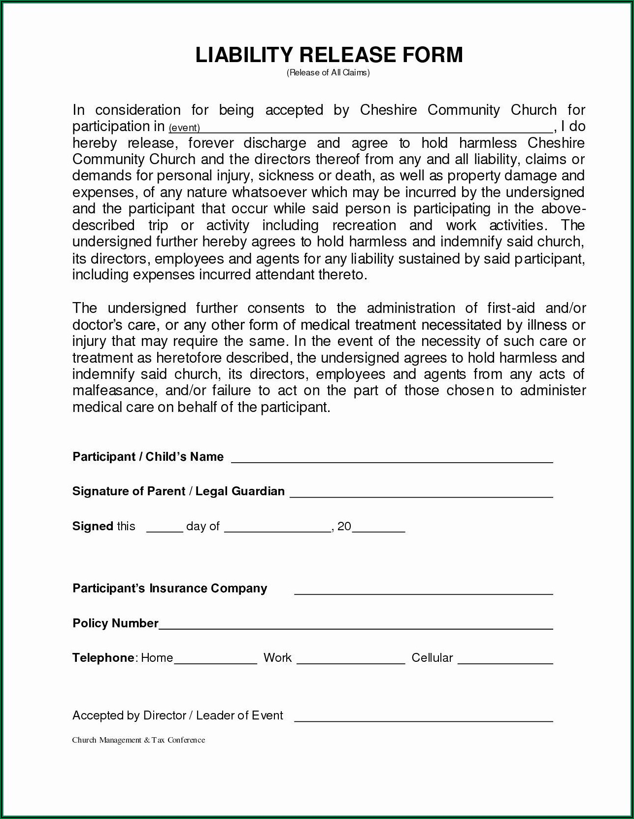 Free Insurance Liability Waiver Form