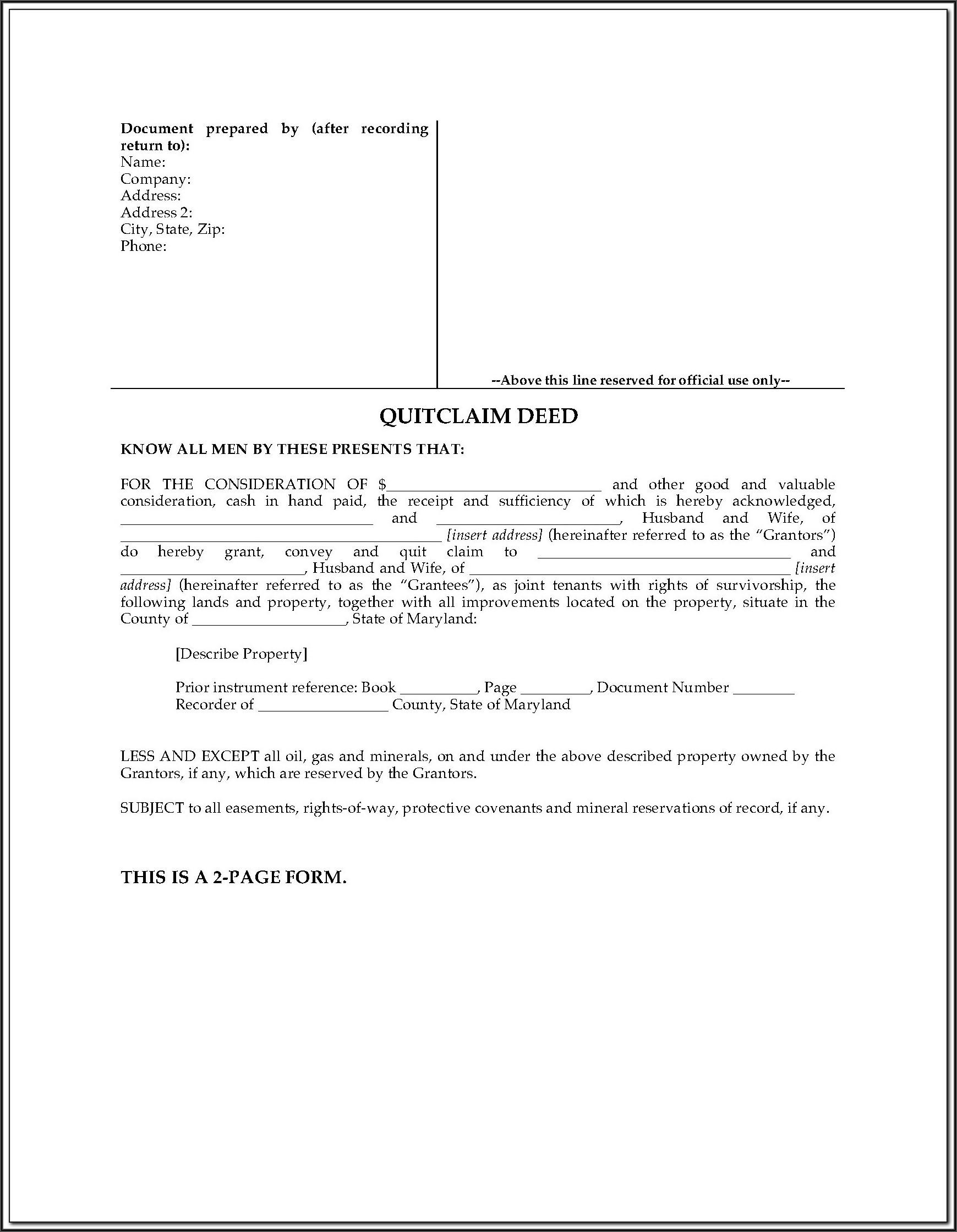 Free Joint Tenancy Deed Form