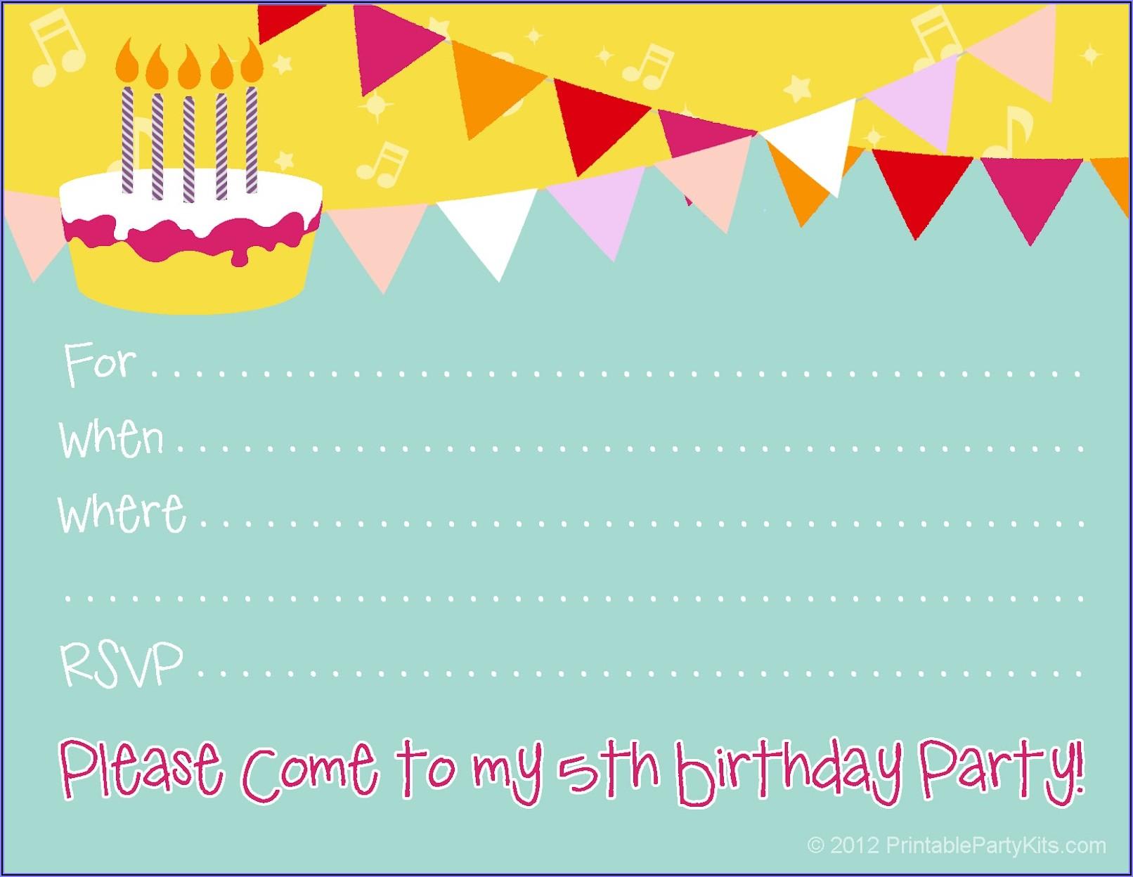 Free Kid Birthday Invitations To Print