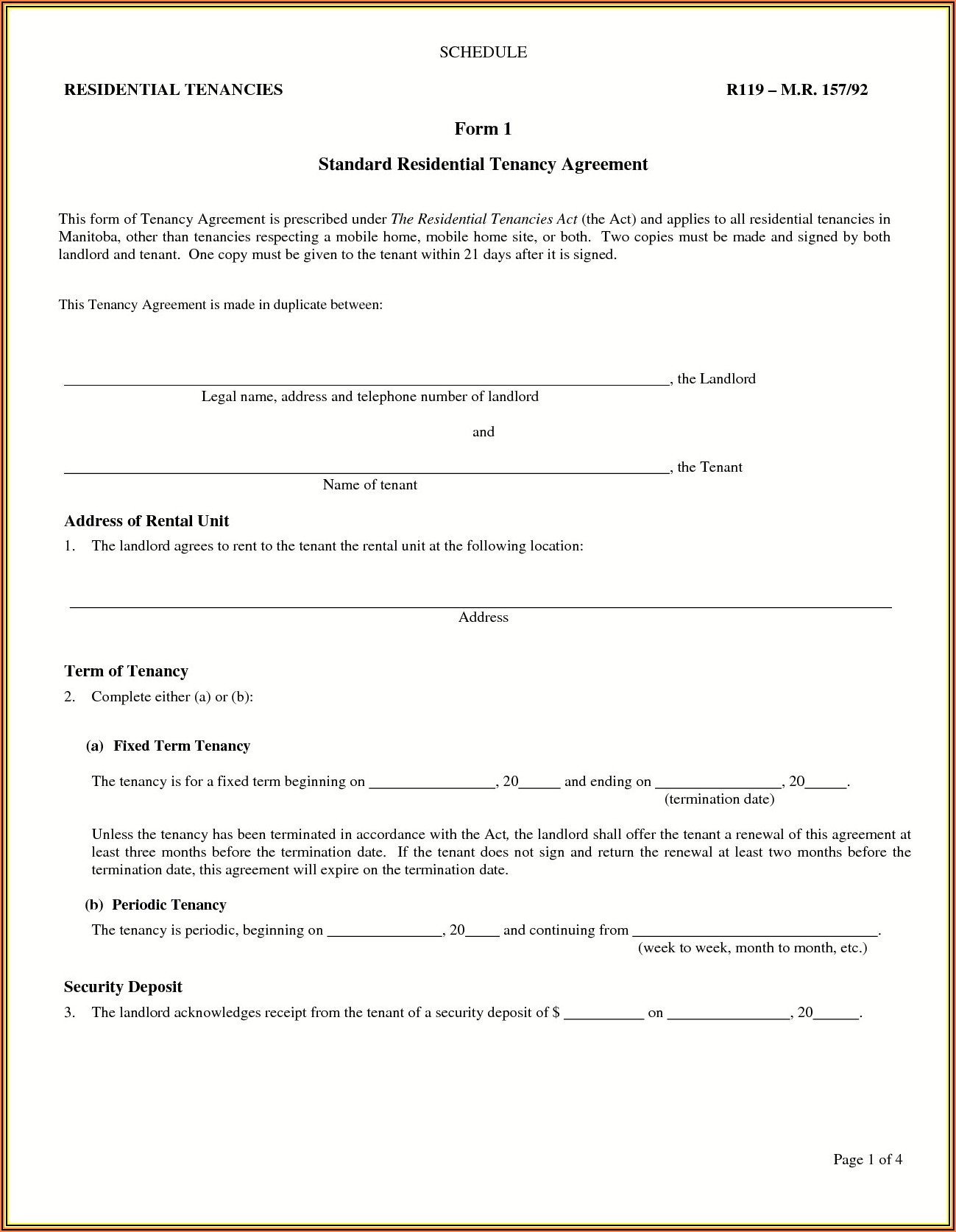 Free Landlord Tenant Agreement Template